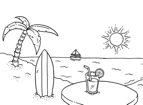free coloring pages of beach theme