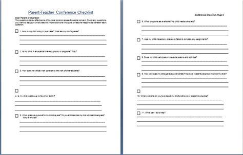 parent conference form template parent conference concern questionare checklist
