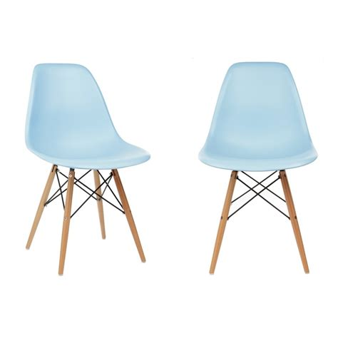 dsw dining chair set of 2 eames style dsw molded light blue plastic dining