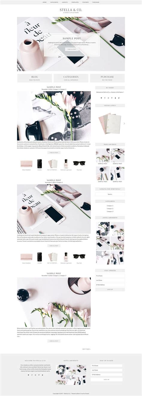 Stella Co Feminine Responsive Genesis Child Theme For Wordpress Ad Youtube Blogging Feminine Squarespace Templates
