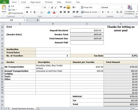 format invoice travel travel agency invoice template excel tmp