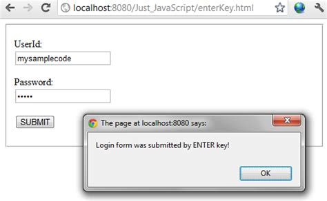 javascript keycode tutorial form submit exle using enter key in javascript jquery