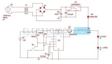 automatic changeover switch circuit using 555 timer