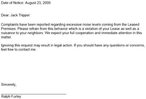Lease Notice For Noise Lease Notice Tenant Notices Ez Landlord Forms Rental
