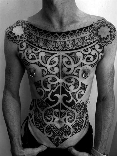 detailed tribal tattoos detailed tribal ornaments on whole chest