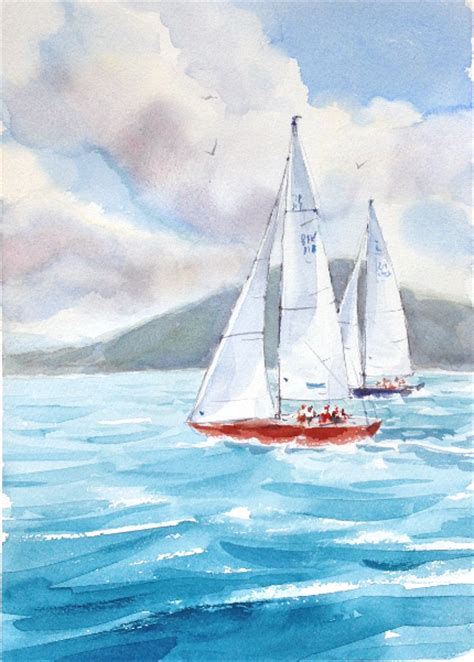 watercolor tutorial seascape how to paint the ocean in watercolor