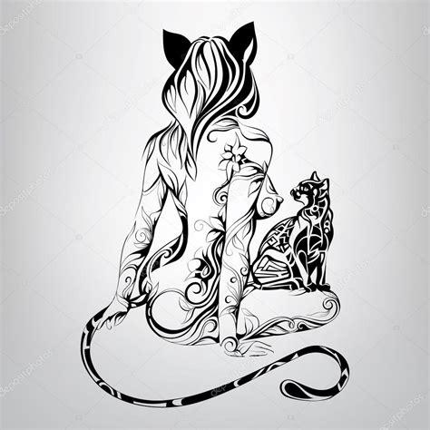 imagenes vectorizadas yoga silhouette of girl cat with cat image vectorielle 67898655