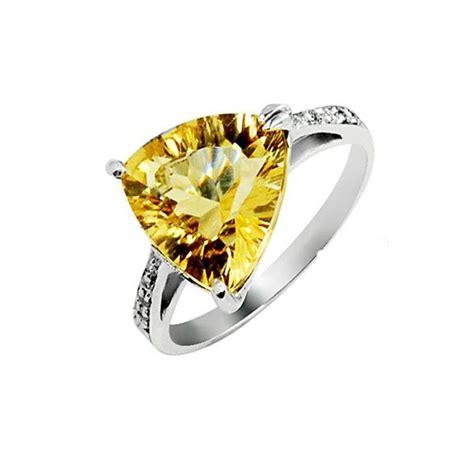 4 carat citrine gemstone engagement ring on silver