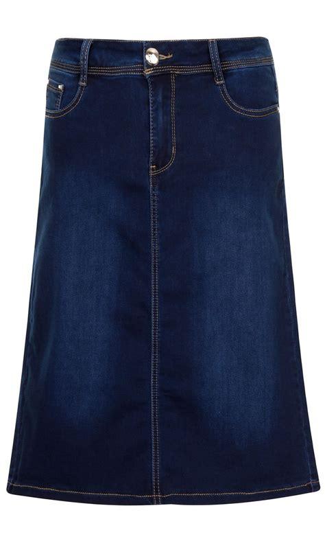 stretch denim knee length skirt wash skirt99