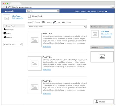 editing facebook layout ui mock up templates to create unique user interfaces