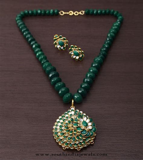 green beaded necklace green beaded kundan necklace set south india jewels