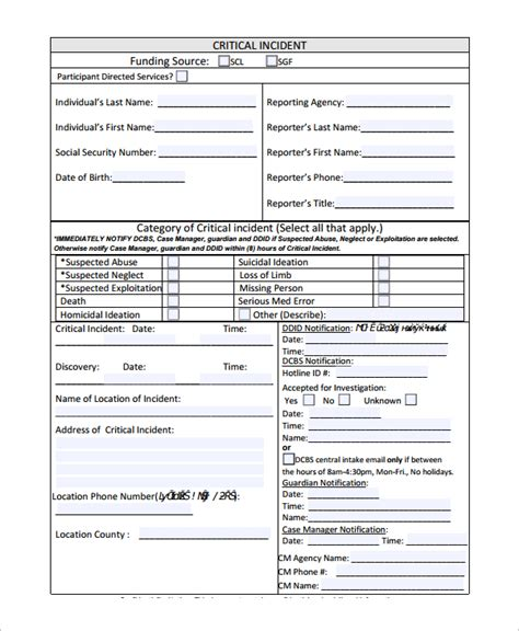 report form template sle incident reporting form 9 free documents