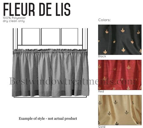 custom 50 quot wide cafe curtain panel fleur de lis www