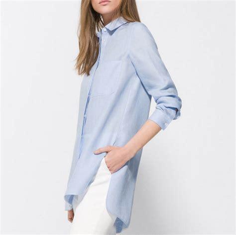 Blouse Saku Jumbo Linen massimo dutti blue linen oversized blouse blingby