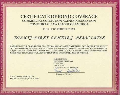 corporate bond certificate template accounts receivable management collection agency
