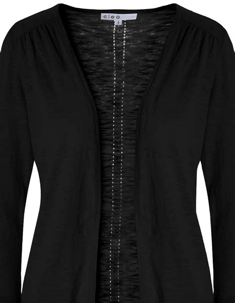 pointelle knit cardigan black pointelle knit cardigan cleo