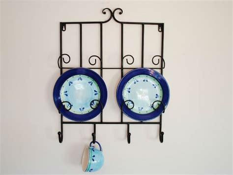 metal wall plate holder display rack cup hooks b ebay