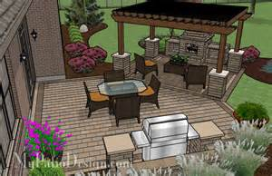 Custom Backyard Bbq Grills by Pergola Covered Fireplace Patio Tinkerturf