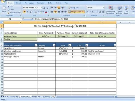 Home Improvement Tracking Template In Excel By Timesavingtemplates Home Remodel Template