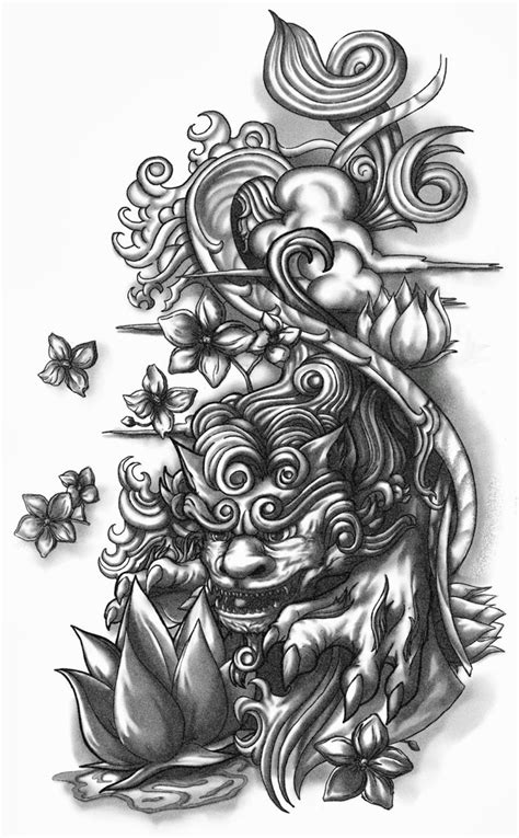 shisa dog half sleeve tattoo design by crisluspotattoos on