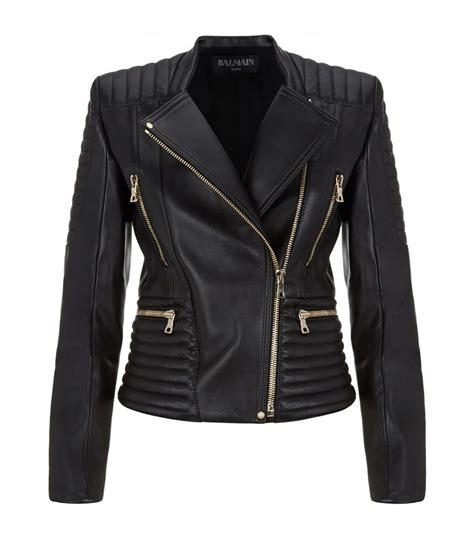 black leather biker jacket balmain leather biker jacket in black lyst