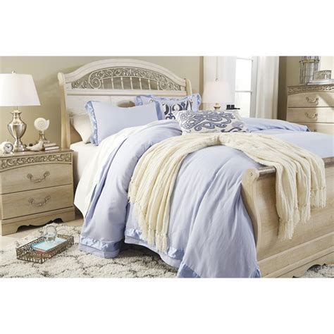 white sleigh bed queen ashley catalina queen sleigh bed in antique white b196