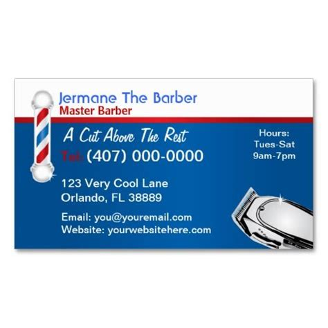 Barber Business Card Template by Barbershop Business Card Barber Pole And Clippers