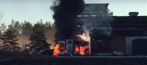Tesla Model S Fires Tesla Model S Engulfed In Flames While Charging In