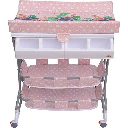 Homcom Baby Bath Changing Table W Tub Pink Ideal Home Pink Changing Table