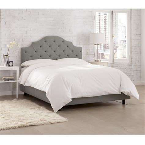 grey tufted king bed linen grey california king tufted notched bed 634bedlnngr