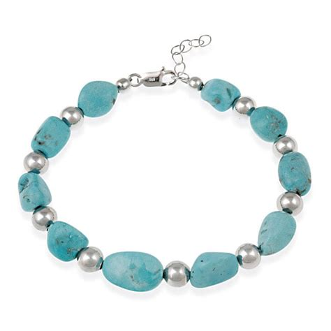 Glitzy Rocks Sterling Silver Turquoise Nugget Bracelet   Free Shipping On Orders Over $45