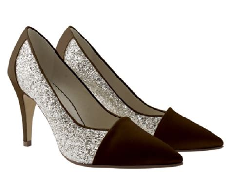 chocolate brown satin glitter occasion shoes wedding