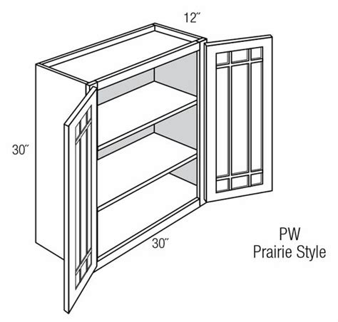 Pgw3030b Wall Cabinet With Prairie Style Mullion Glass
