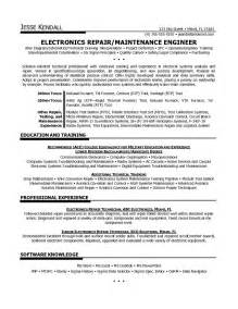 example electronics technician resume sample