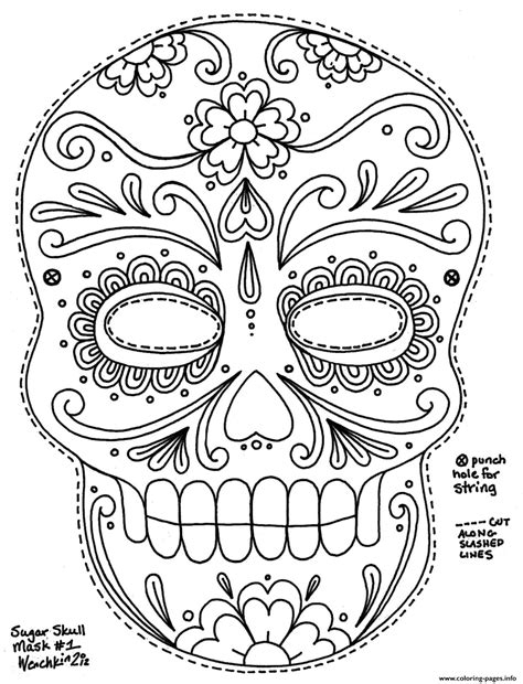 simple sugar skull hd adult big size coloring pages printable