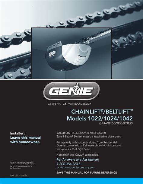 Genie Garage Door Owners Manual Genie Garage Door Opener 1022 User S Guide Manualsonline