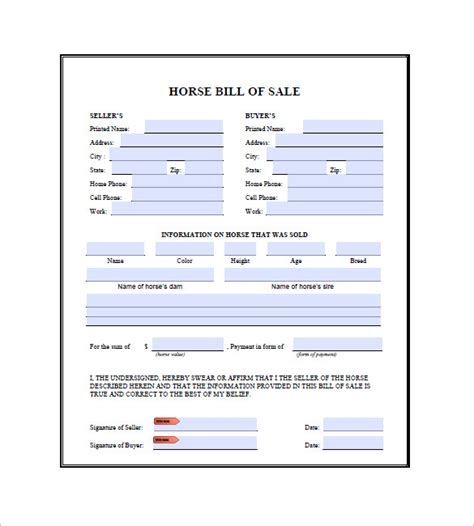 horse bill of sale 8 free word excel pdf format