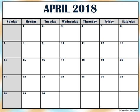 free excel calendar templates april 2018 calendar template free design