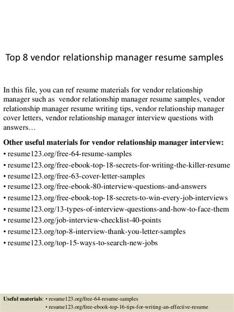 Vendor Relationship Manager Sle Resume by Top 8 Vendor Relationship Manager Resume Sles