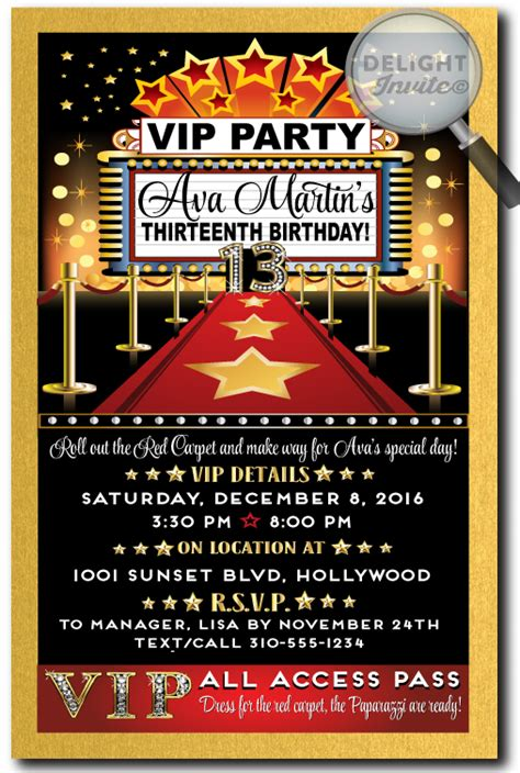 movie themed birthday ecards hollywood red carpet diva birthday invitations di 299