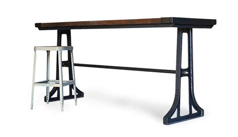 industrial wood gathering table counter height kitchen bar