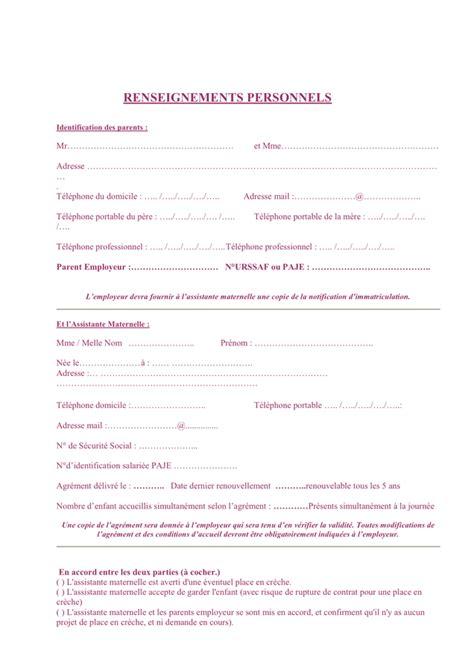 Modele Contrat Assistante Maternelle model 233 de contrat de travail assistante maternelle doc