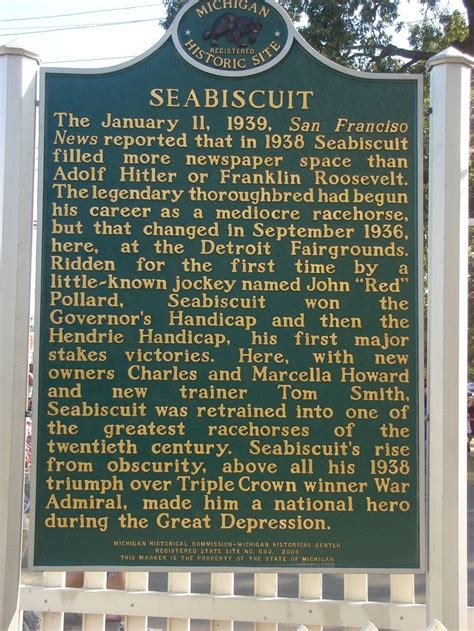 Michigan The 26th State by Seabiscuit Historical Marker At The Michigan State