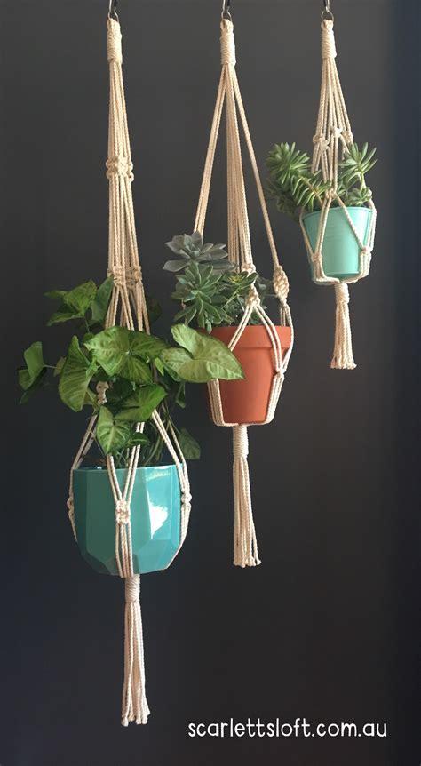 Handmade In Australia - trilogy of macrame hangers handmade in australia
