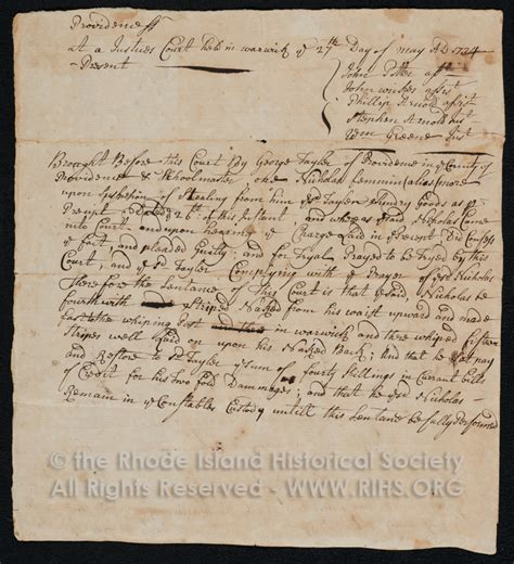 Providence Court Records Colonial Justice Early Rhode Island Court Records Project Rhode Island Historical