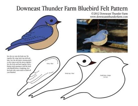 felt blue bird downloadable pattern sewing and crafts