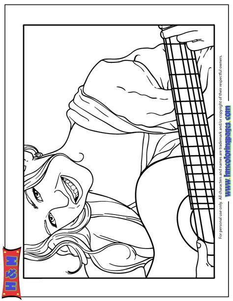 hannah montana playing guitar coloring page with hannah