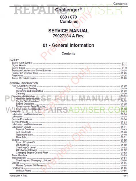 Challenger Combine 660 670 Pdf Service Manual