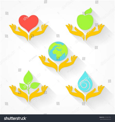 set transparent color set transparent color icons nature care stock vector