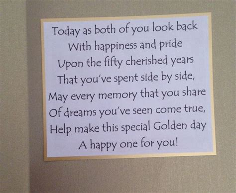 50th wedding anniversary card verses inside of golden wedding anniversary card the sentiment
